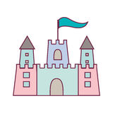 Pastel color sandcastle icon with flag stock illustration