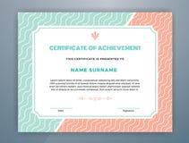 Pastel Color Scheme Certificate of Achievement Stock Images