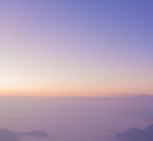 Pastel color sky blur background mountain view sunrise Royalty Free Stock Image