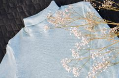 Pastel color sweater with a white sprig of baby`s breath stock image