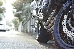 Pastel color tone style of motorcycle on the street Royalty Free Stock Photography