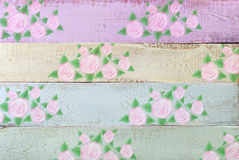 Pastel color wooden background with floral pattern Stock Photos