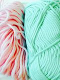 Pastel color yarns. Closeup Pastel color yarns for craft Royalty Free Stock Images