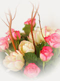 Pastel colored bouquet of roses and tulips. And willow branches, Gradient frame Stock Photography