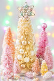 Pastel colored christmas trees Stock Image