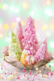 Pastel colored christmas trees Royalty Free Stock Photography