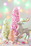 Pastel colored christmas trees royalty free stock images