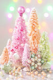 Pastel colored christmas trees Royalty Free Stock Photo