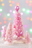 Pastel colored christmas trees Stock Images