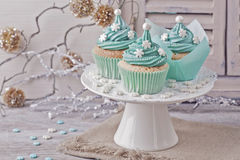 Pastel colored cupcakes Royalty Free Stock Image
