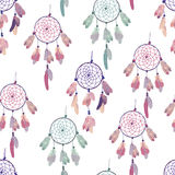 Pastel colored dream catchers vector seamless background Royalty Free Stock Image