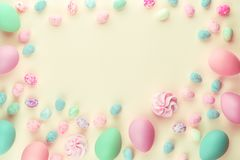 Pastel colored dyed assorted easter eggs stock photo