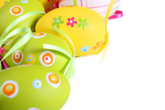 Pastel and colored Easter eggs Stock Photo