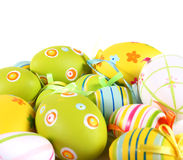 Pastel and colored Easter eggs Stock Photography