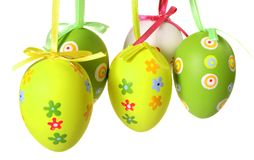 Pastel and colored Easter eggs Stock Photos