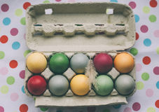 Pastel colored easter eggs with feather Stock Photo