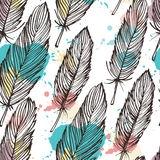 Pastel colored feather seamless background Royalty Free Stock Photography