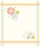 Pastel-colored flower frame. Funky flower frame in pastel colors green, blue, yellow and pink stock illustration