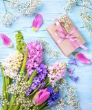 Pastel colored flower and a gift box. On a blue background Stock Images