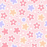 Pastel colored flowers cute crochet seamless pattern, vector. Background Royalty Free Stock Photography