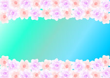 Pastel-colored flowers on turquoise blue gradient Stock Photography
