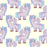 Pastel colored hand drawn unicorns seamless pattern Royalty Free Stock Photos