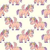 Pastel colored hand drawn unicorns seamless pattern stock illustration