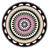Pastel colored hand drawn zentangle mandala element Royalty Free Stock Photography