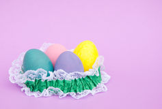 Pastel colored hand painted Easter egg shells Stock Photography