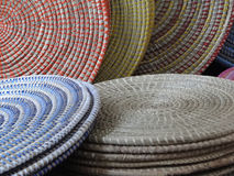 Pastel colored hand woven baskets Royalty Free Stock Photos