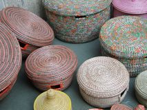 Pastel colored hand woven baskets Stock Photo