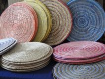 Pastel colored hand woven baskets Stock Image