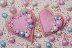 Pastel colored heart shaped cookies Stock Images