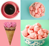Pastel colored ice cream, coffee and meringue collage Royalty Free Stock Photo