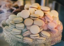 Pastel colored macarones on a plate Stock Photo