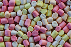 Pastel colored marshmallows as background.  Royalty Free Stock Photography