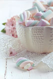 Pastel colored marshmallows in a bowl, closeup shot, toned photo Royalty Free Stock Photo