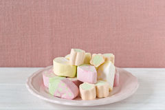 Pastel colored marshmallows Stock Images
