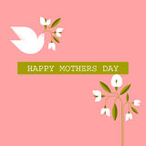 Pastel colored Mothers day cards with dove, spring flowers Royalty Free Stock Photos