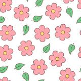 Pastel colored pink doted sakura flowers and leaves seamless pattern, vector. Background Stock Photography