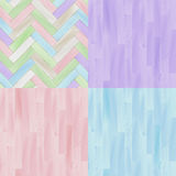 Pastel colored realistic wooden floor parquet seamless patterns set, vector Royalty Free Stock Image