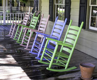 Pastel Colored Rocking Chair. An attractive group of pastel rocking chairs Royalty Free Stock Photo