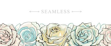Pastel colored roses border seamless pattern with romantic hand drawn flower blooms. Pastel colored roses border seamless pattern with romantic hand drawn Royalty Free Stock Photos