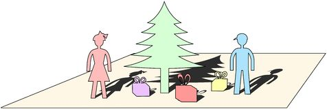 Pastel colored simple Christmas motive cut from paper Stock Photo