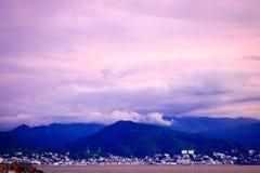 Pastel colored sky as storm brews over Puerto Vallarta Stock Photo