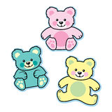 Pastel colored stuffed baby teddy bears blue pink yellow. This is a set of three stuffed animal bears for a child or baby. This is vector based illustration in Royalty Free Stock Photos