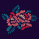 Pastel colored stylized flowers and leaves bouquet on dark, vector royalty free illustration