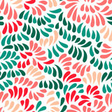 Pastel colored stylized flowers and leaves seamless pattern, vector Stock Photo