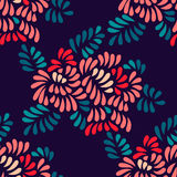 Pastel colored stylized peony flowers and leaves seamless pattern on dark, vector Royalty Free Stock Photography