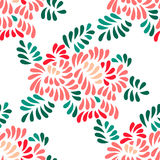 Pastel colored stylized peony flowers and leaves seamless pattern, vector Stock Photo